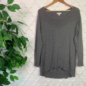 New York & Company Grey High Low Tunic Sweater